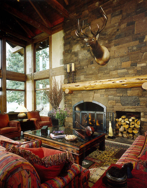 Living room fireplace rustic living room portland for Cabin fireplace pictures