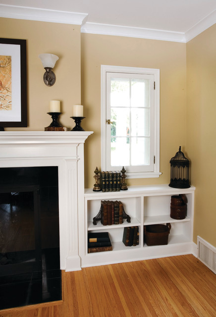 Living room fireplace with built-ins