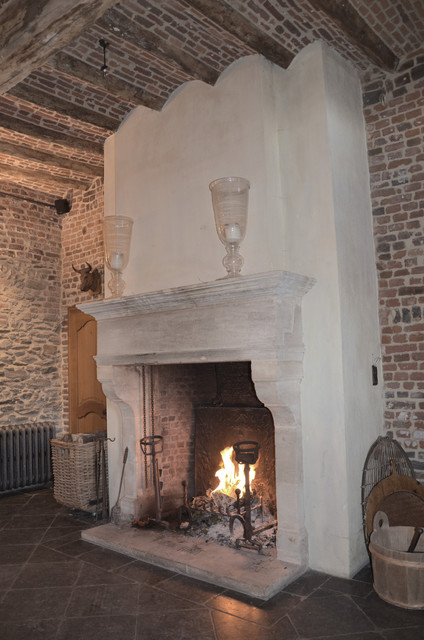 Living Room Fireplaces mediterranean-living-room