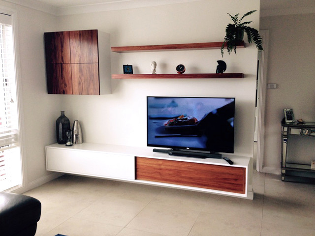 Living room floating tv wall unit contemporary living room sydney by goldenwood furniture for Floating wall units for living room