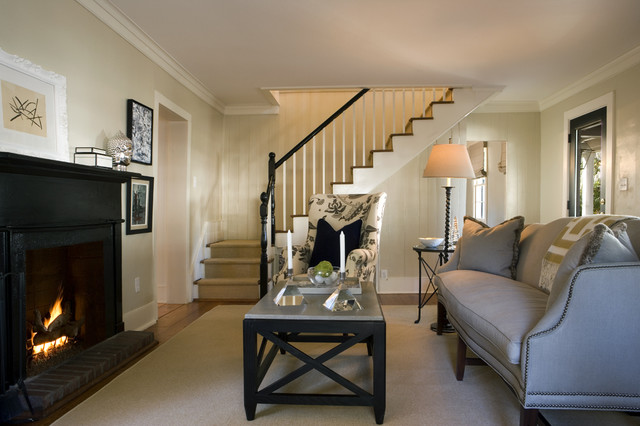 living room design with stairs. living room traditional  Traditional Living Room Atlanta by Frederick
