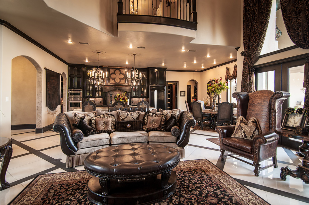 Example of a huge ornate formal and open concept porcelain tile living room design in Dallas with beige walls