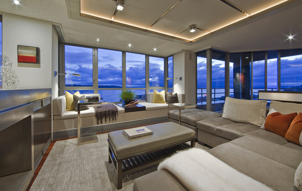 Inspiration for a contemporary living room remodel in Seattle with gray walls