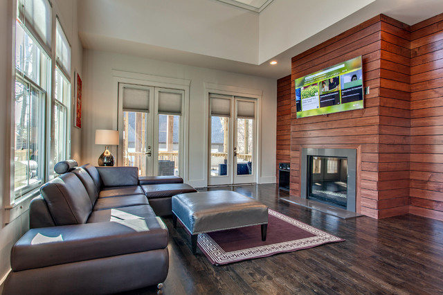 Living Room Horizontal Wood Fireplace Surround