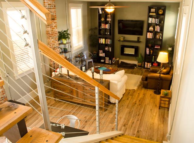 Living room in Sandusky home industrial-living-room