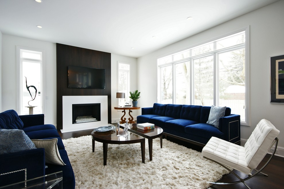 Living room - contemporary living room idea in Detroit with white walls