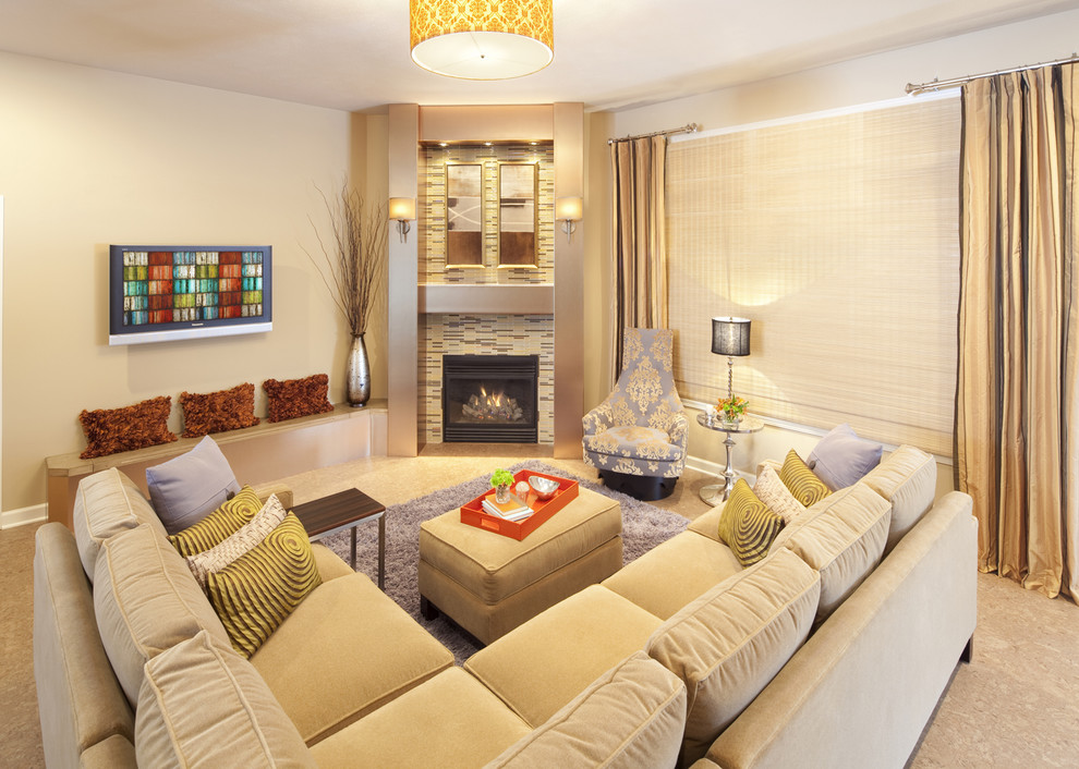 Example of a trendy living room design in Chicago with a corner fireplace and a tile fireplace
