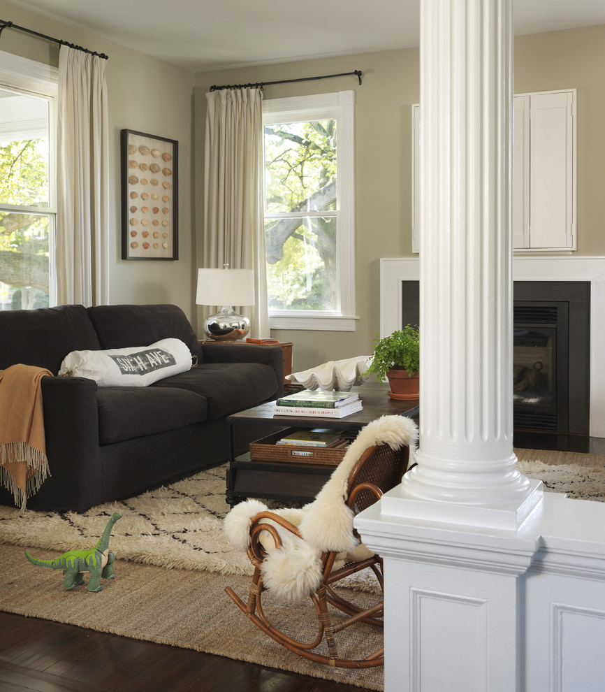 Inspiration for a timeless enclosed living room remodel in Providence with a standard fireplace