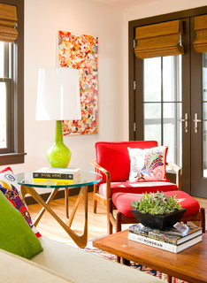 Colorful living room with lime green lamp
