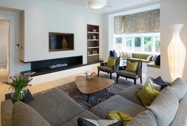 Contemporary Formal Light Wood Floor Living Room Idea In London With White  Walls, A Ribbon