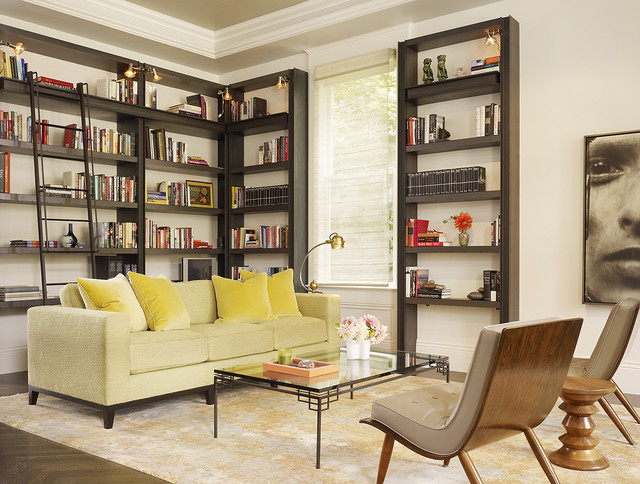 Merveilleux Transitional Dark Wood Floor Living Room Library Photo In San Francisco  With White Walls