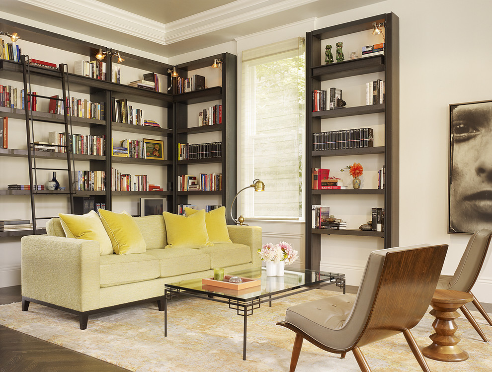 Transitional dark wood floor living room library photo in San Francisco with white walls