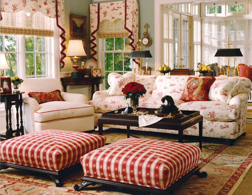 French Country Living Room Mixes Different Prints In A Red And White Color  Scheme (by Lola Watson Interior Design)