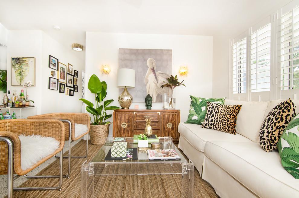 Living room - tropical living room idea in Miami