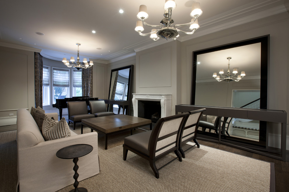 Example of a trendy living room design in Chicago
