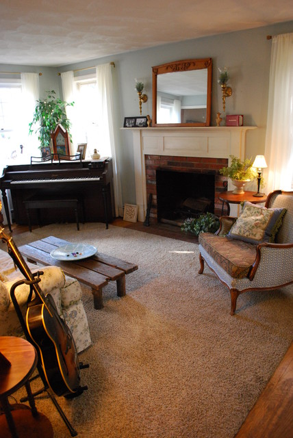 Living Room Music Room with Piano Ivory Sheers