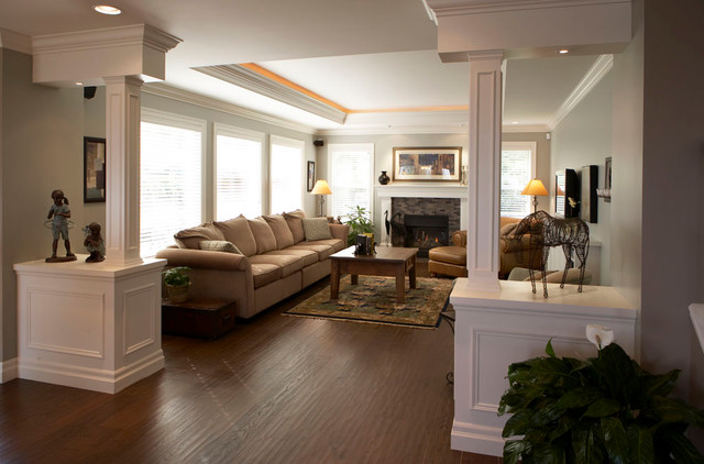 Living Room with pillars - traditional - living room - vancouver