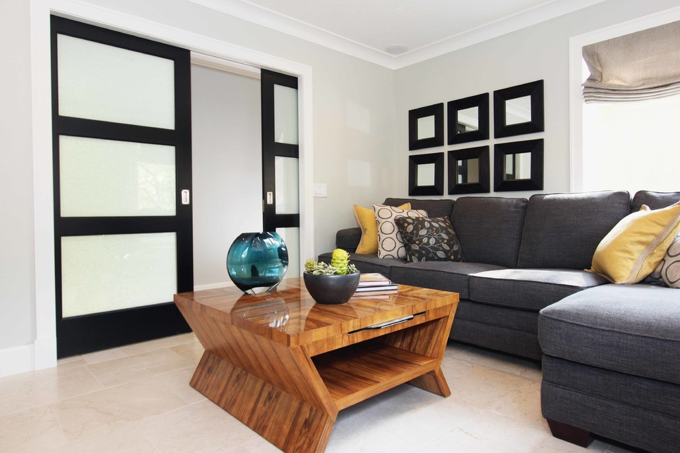 Transitional living room photo in Orange County