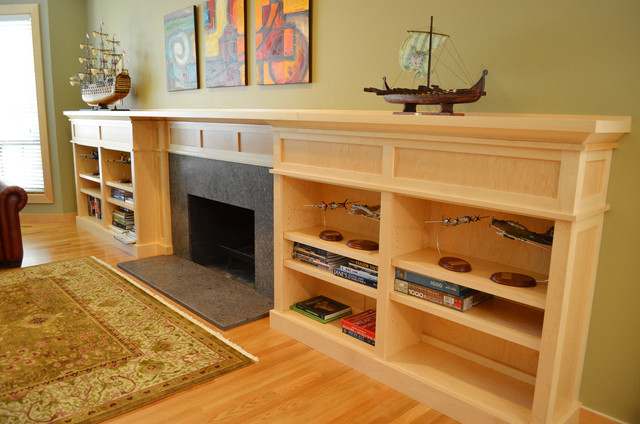 living room new fireplace with built in bookcase cabinets