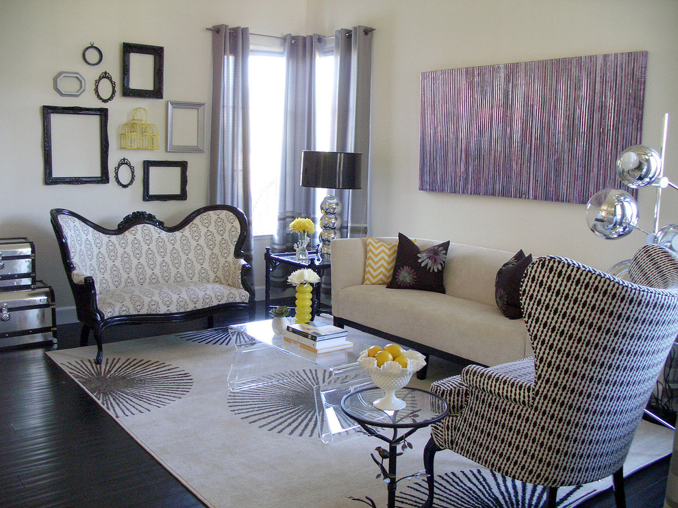 Example of a mid-sized transitional living room design in San Francisco with white walls
