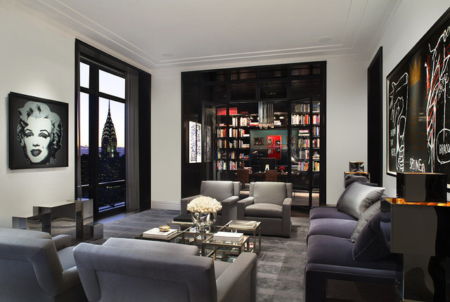 Charmant Example Of A Huge Trendy Living Room Design In New York With White Walls