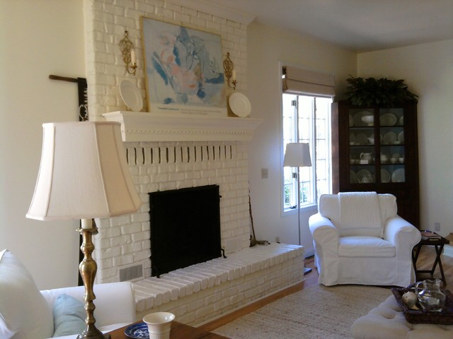 Living Room Painted Brick Fireplace Eclectic