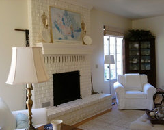 living room  painted brick fireplace eclectic living room