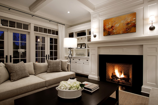 Good Example Of A Large Classic Living Room Design In Seattle With White Walls  And A Standard