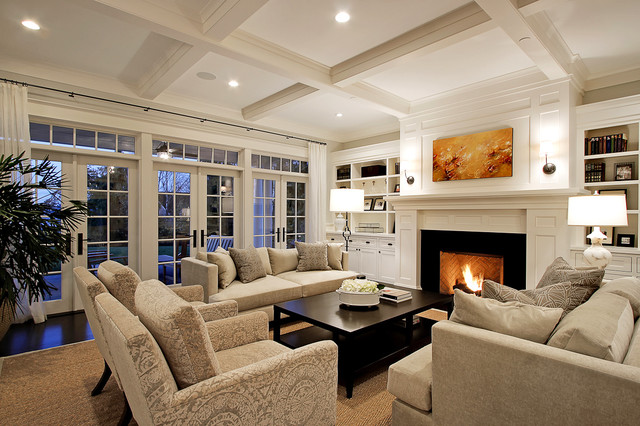 example of a huge classic dark wood floor living room design in seattle with a standard - Houzz Living Room