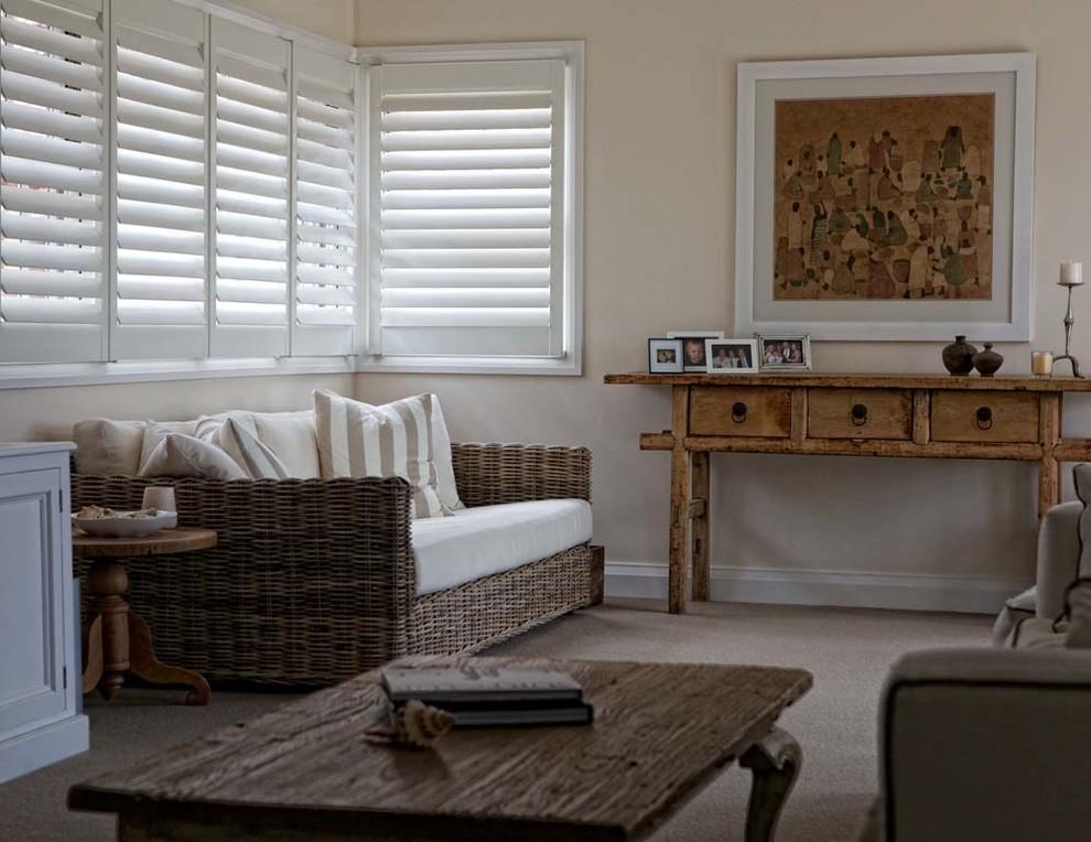Living Room Plantation Shutters - Farmhouse - Living Room ...
