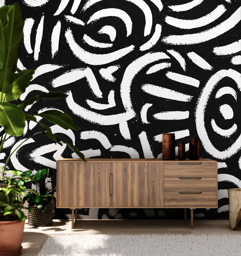 Living room - scandinavian living room idea in New York