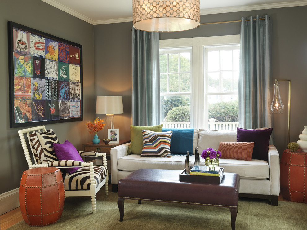 Living room - contemporary carpeted living room idea in Boston with gray walls, no fireplace and no tv