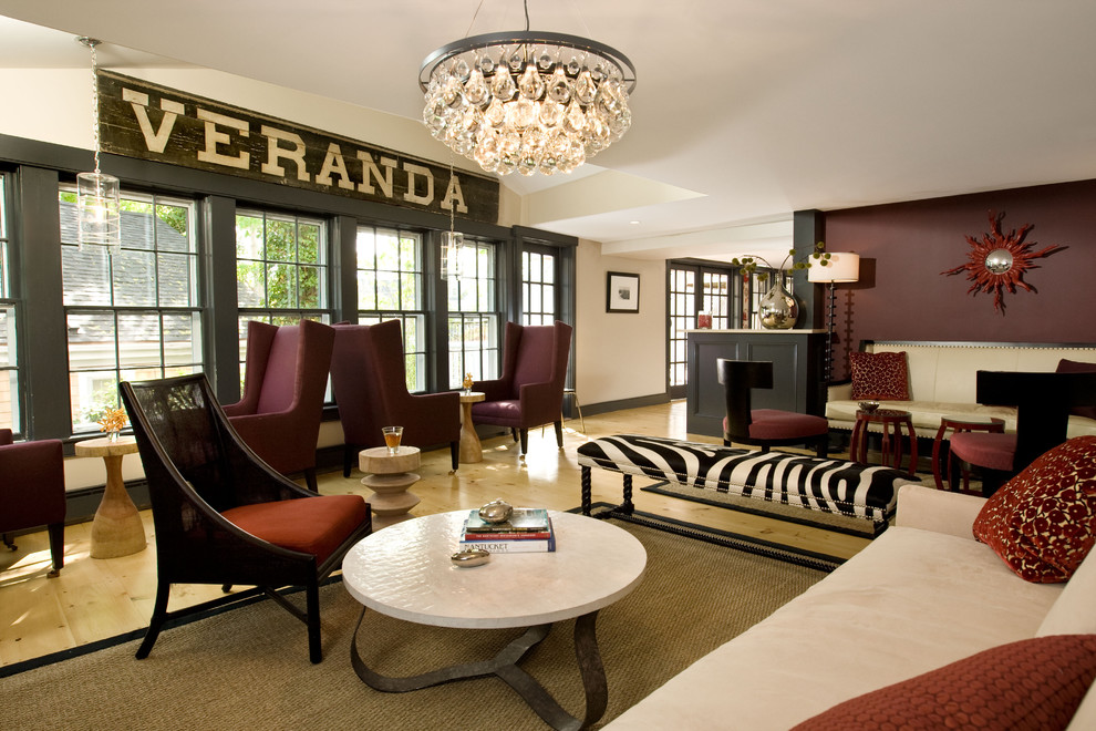 Inspiration for a huge transitional light wood floor living room remodel in Boston with brown walls and no tv