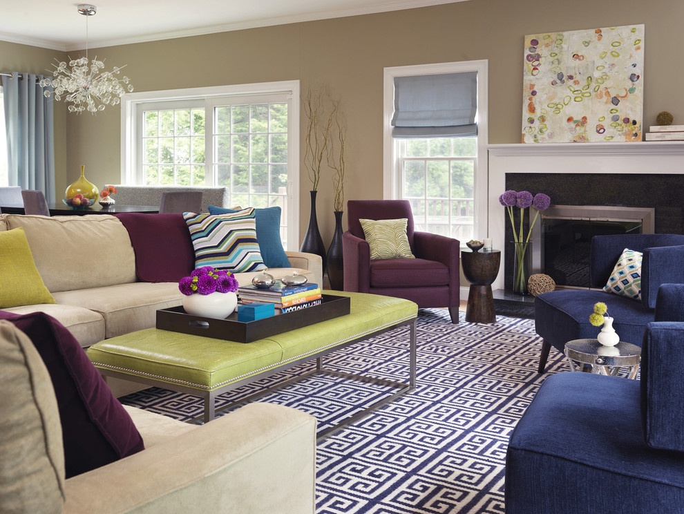 Transitional formal carpeted living room photo in Boston with beige walls and no tv