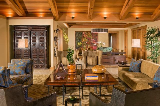 Island Style Living Room Photo In Hawaii