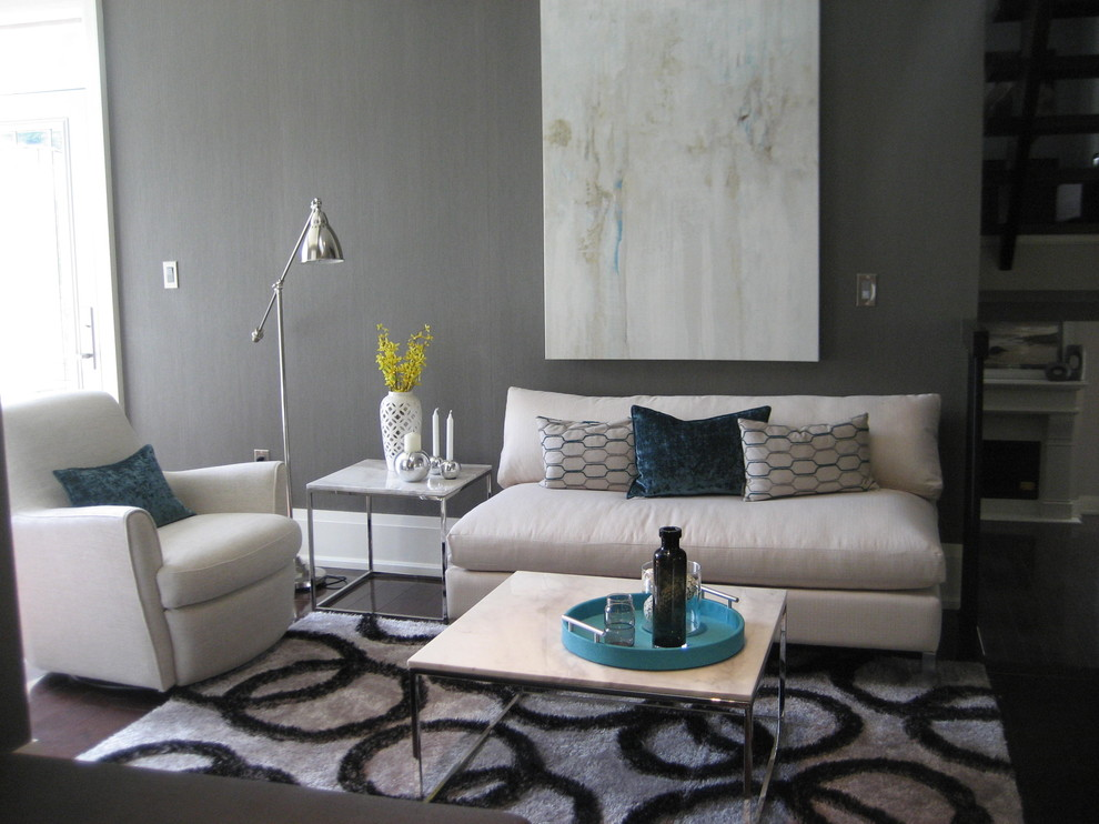Living room - mid-sized contemporary open concept and formal dark wood floor and brown floor living room idea in Toronto with gray walls, no fireplace and no tv