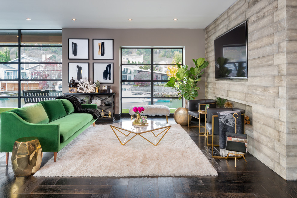 Mid-sized trendy formal and open concept dark wood floor living room photo in San Francisco with beige walls, no fireplace and a wall-mounted tv