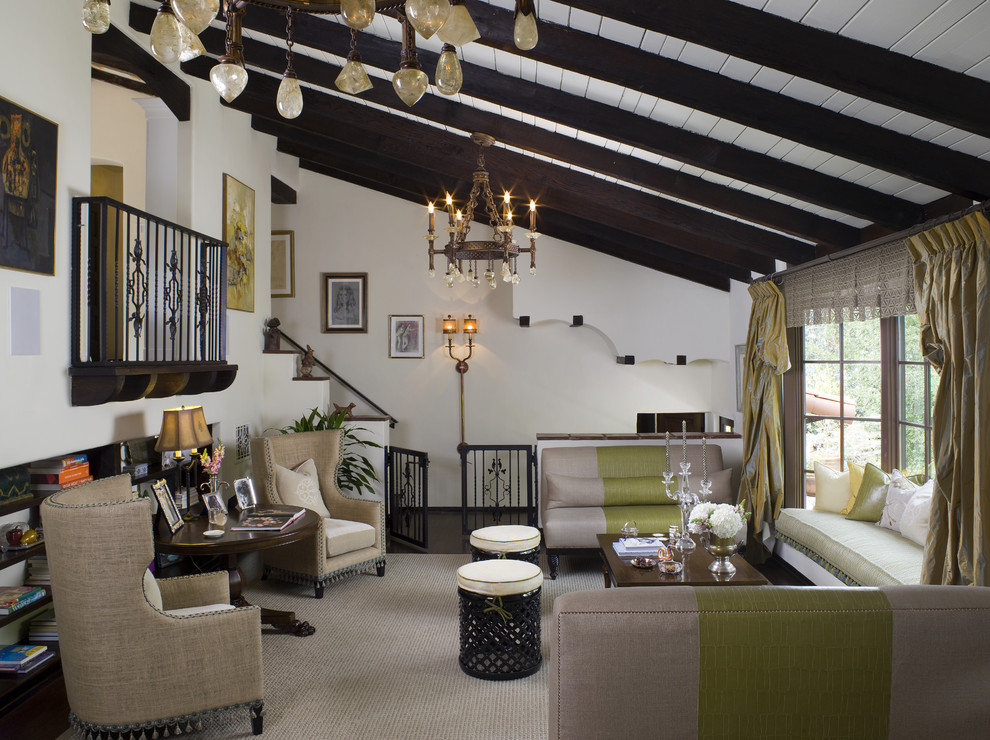 Living room - mediterranean living room idea in Los Angeles with no fireplace and no tv