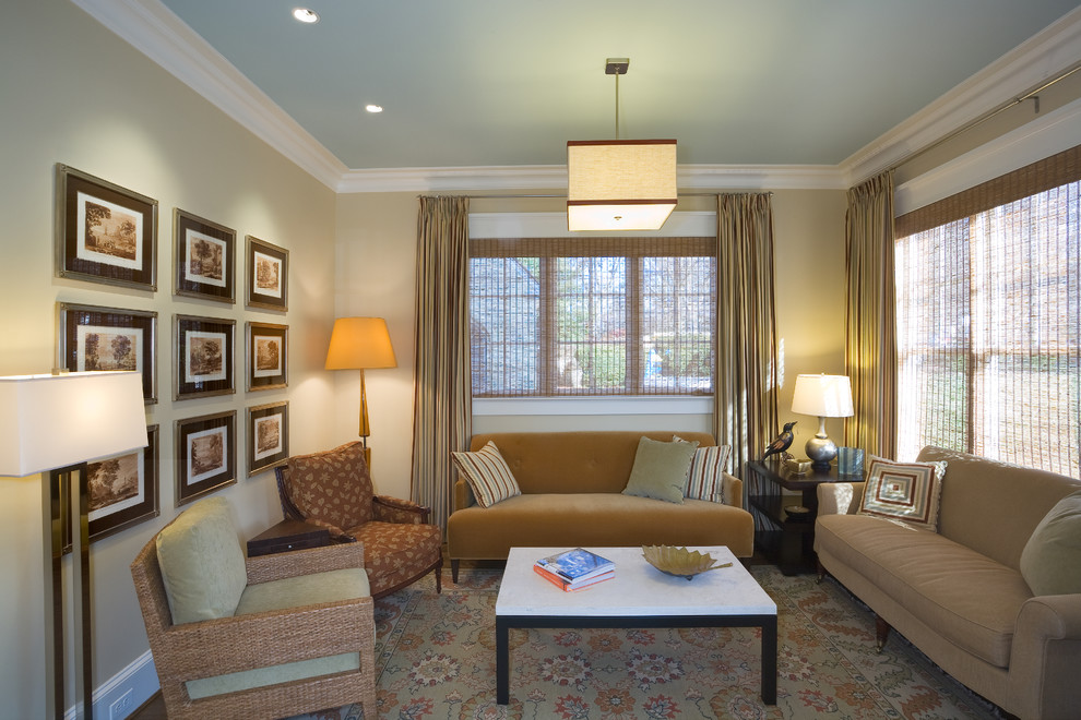 Inspiration for a mid-sized contemporary formal and enclosed living room remodel in DC Metro with beige walls and no tv