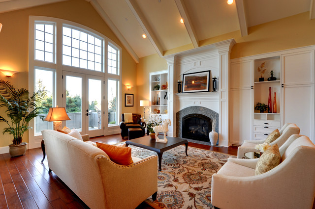 Inspiration for a contemporary living room remodel in Portland with yellow  walls and a standard fireplaceLiving Room Staging   Houzz. Living Room Staging. Home Design Ideas