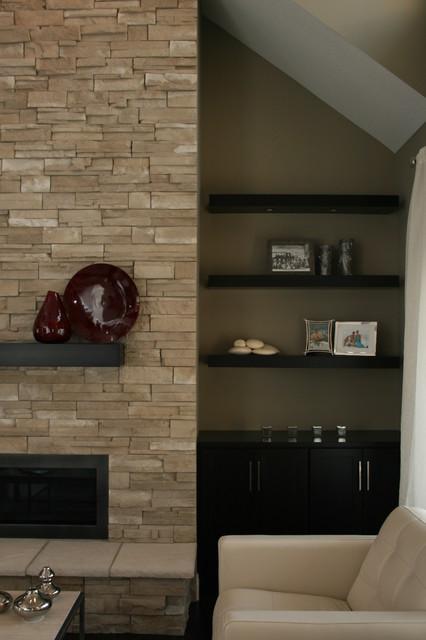 Floating shelves idea dump jess jots for Modern living room floating shelves