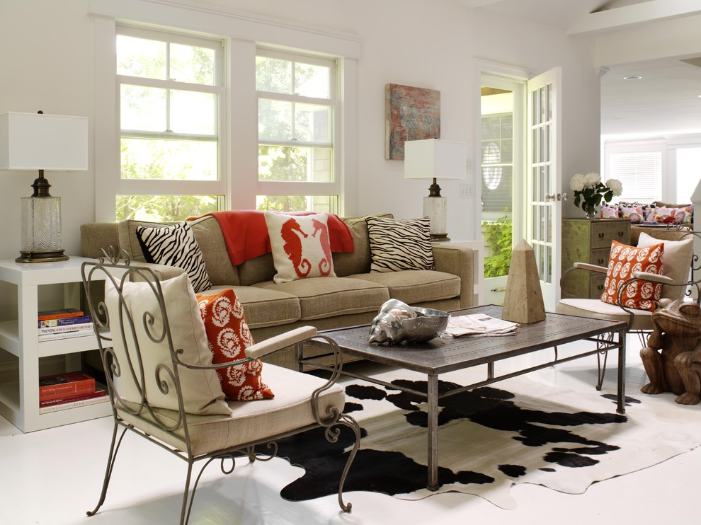 Example of a large trendy formal and open concept laminate floor living room design in New York with white walls, no fireplace and no tv