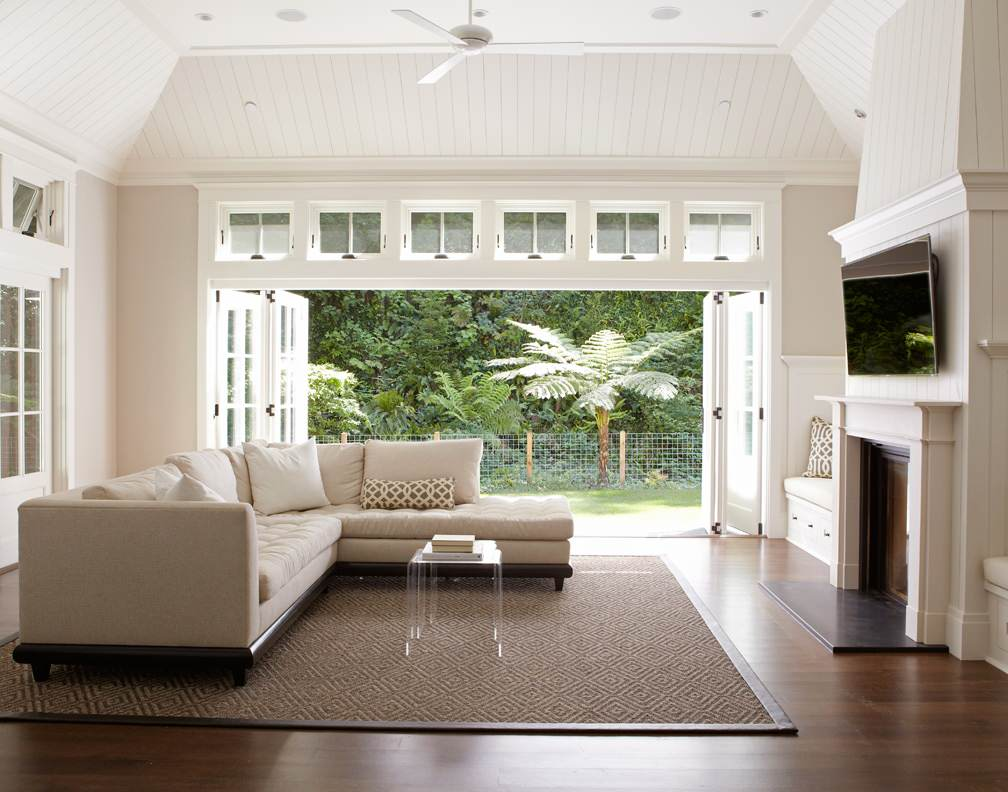 Living room that opens to backyard