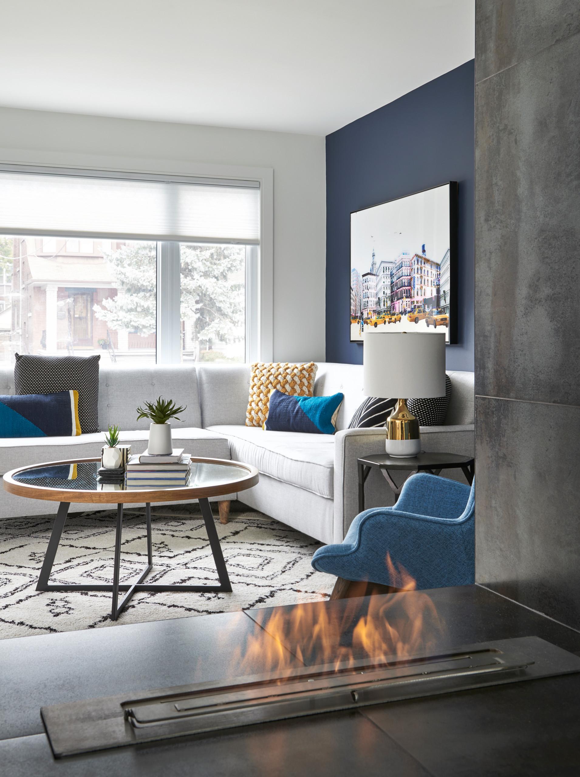 Living room through fireplace