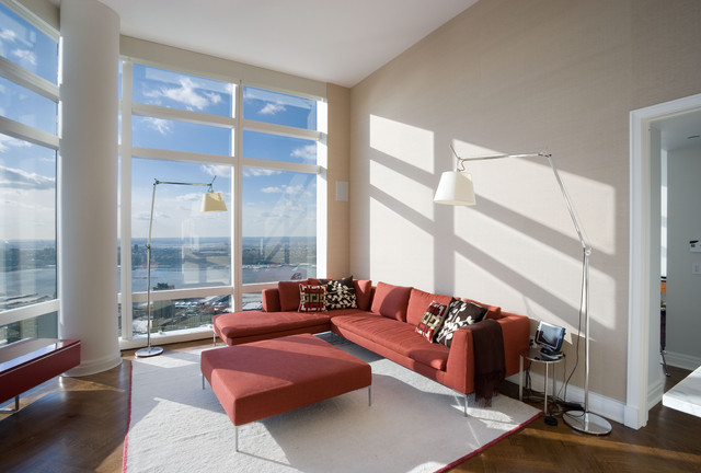 Living Room Uptown High Rise Apartment New York City