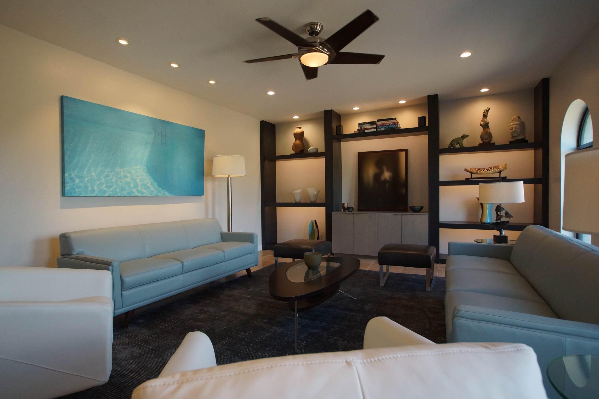 Living Room w/custom shelves & cabinets