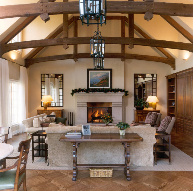 Living Room W Wood Beam Ceiling Traditional