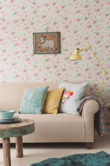 Living room wallpaper ideas shabby chic style living for Pink living room wallpaper