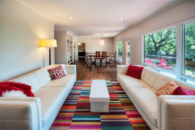 rugs for the living room. Mid sized modern open concept medium tone wood floor living room idea in  Austin with Colorful Living Room Rugs Ideas Photos Houzz