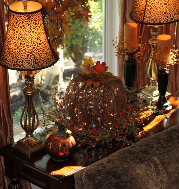 Living Room Window Table Decorated For Fall